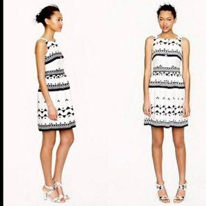 J crew roller girl geometric dress linen button